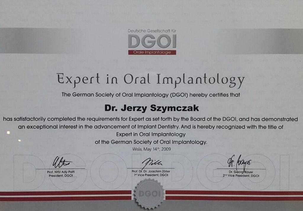 NZOZ Laser- certyfikat dr J. Szymczak